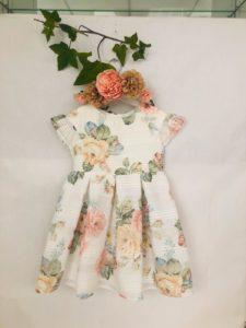 Robe fleurie saumon 53 euros robe fleuri organza doublée coton du 2 au 9 ans