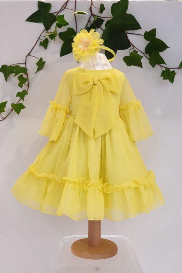 Robe patachou jaune 79 euros du 4ans au 12 ans robe organza double coton