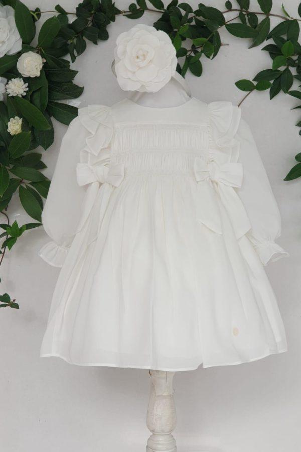 Bapteme robe courte robe mayoral orgànza ECRU 59 euros du 3 mois au 3 ans