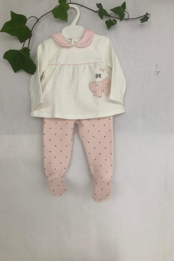 Layette fille ensemble ECRU rose Mayorzal 28 euros du 1 mois au 6 mois