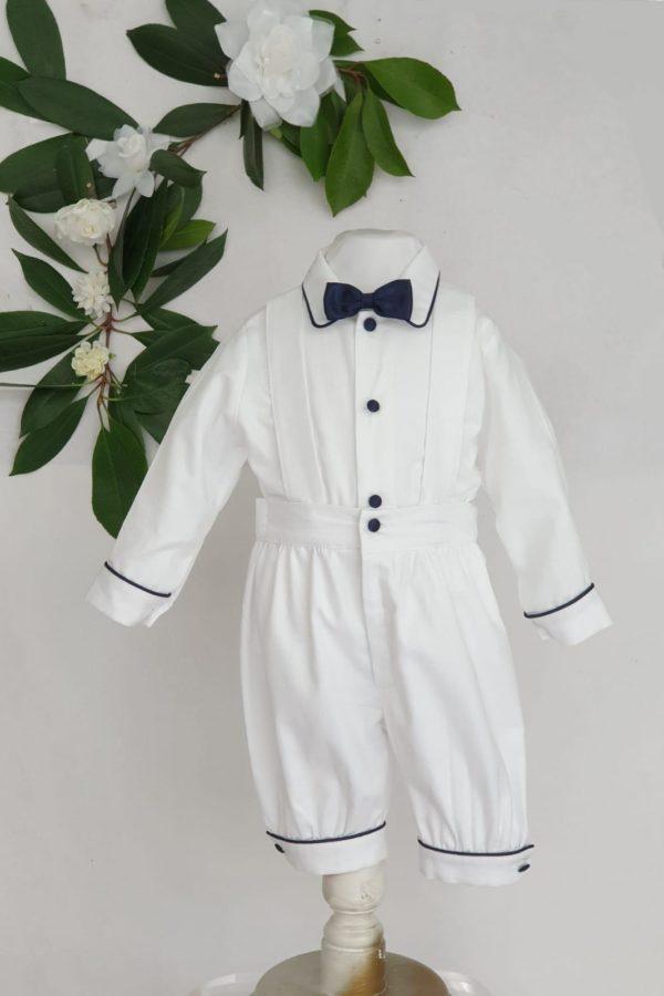 Ensemble Sacha blanc et marine 70 euros chemise et knickers en pique de coton borde marine fabrique en France dans nos ateliers parisiens