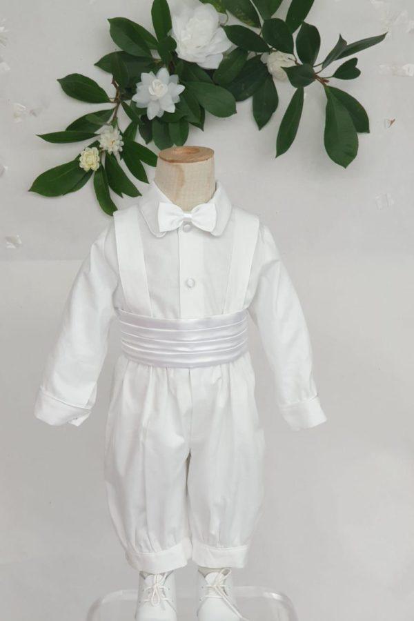 Ensembles Sacha manches longues ceinture blanche 95 euros knickers et chemise en pique de coton ceinture et noeuds en satin blanc fabrication française dans nos ateliers parisiens