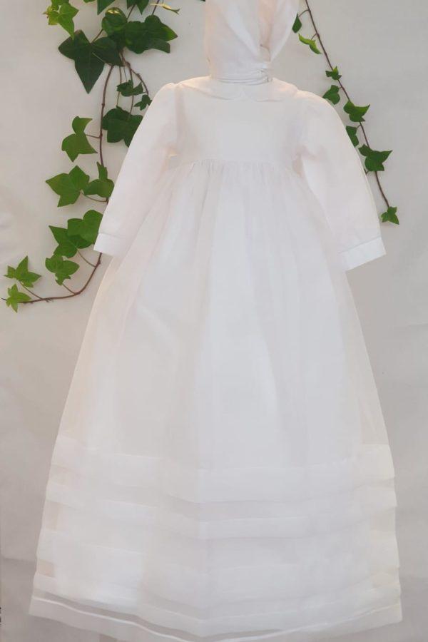 Robe Albane blanche 160 euro robe en organza blanche doublée coton béguin de bapteme