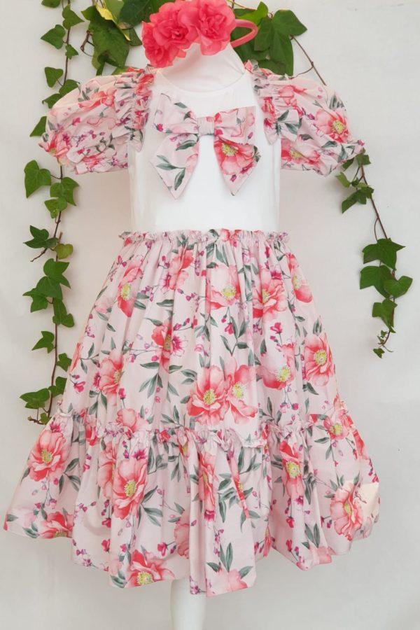 Fille robe patachou coton fleuri rose du 2 ans au 12 ans 65 euros