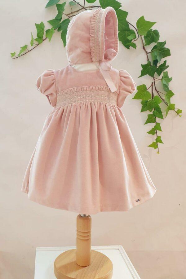 Layette fille robe mayoral velours rose avec chapeau 45 euros du 3 mois au 12 mois