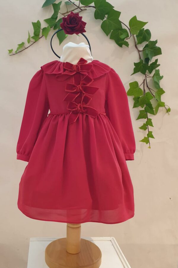 Layette fille robe patachou rouge 65 euros du 6 mois au 3 ans